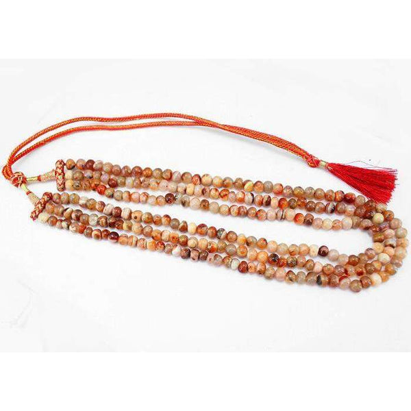 gemsmore:3 Line Orange Agate Necklace Natural Untreated Round Shape Beads