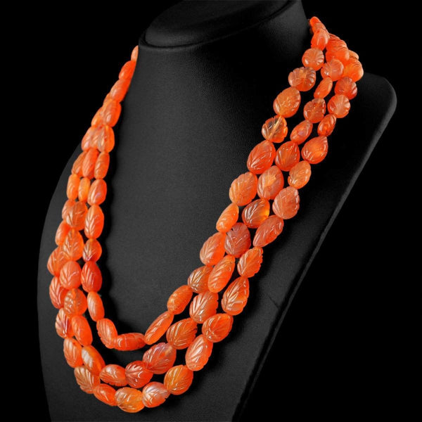 gemsmore:3 Line Orange Carnelian Necklace Natural Pear Shape Carved Beads