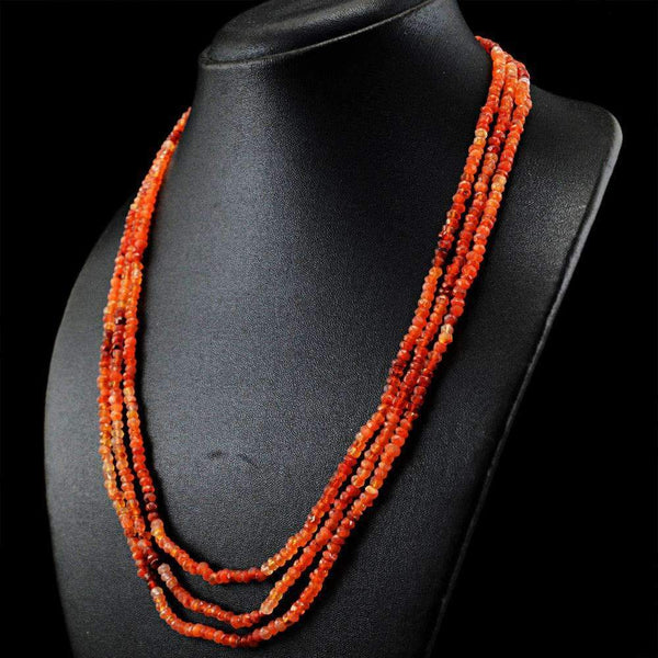 gemsmore:3 Line Orange Carnelian Necklace Natural Round Shape Faceted Beads
