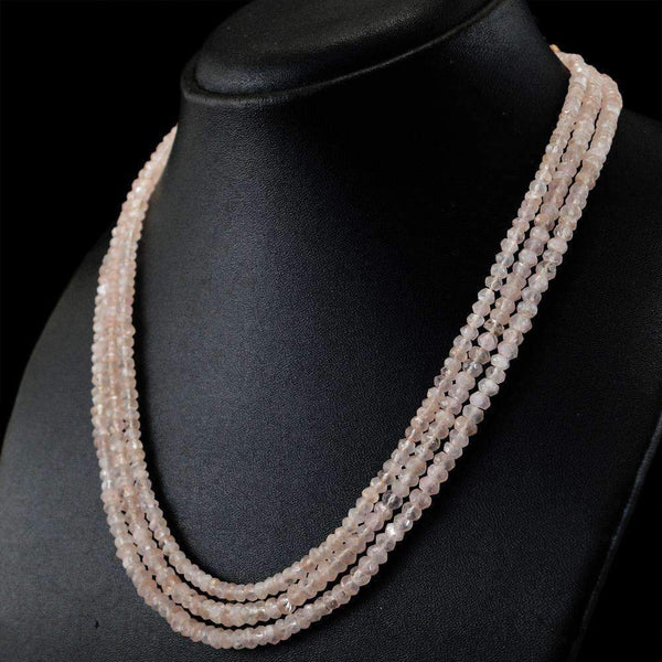 gemsmore:3 Line Pink Rose Quartz Necklace Untreated Round Cut Beads