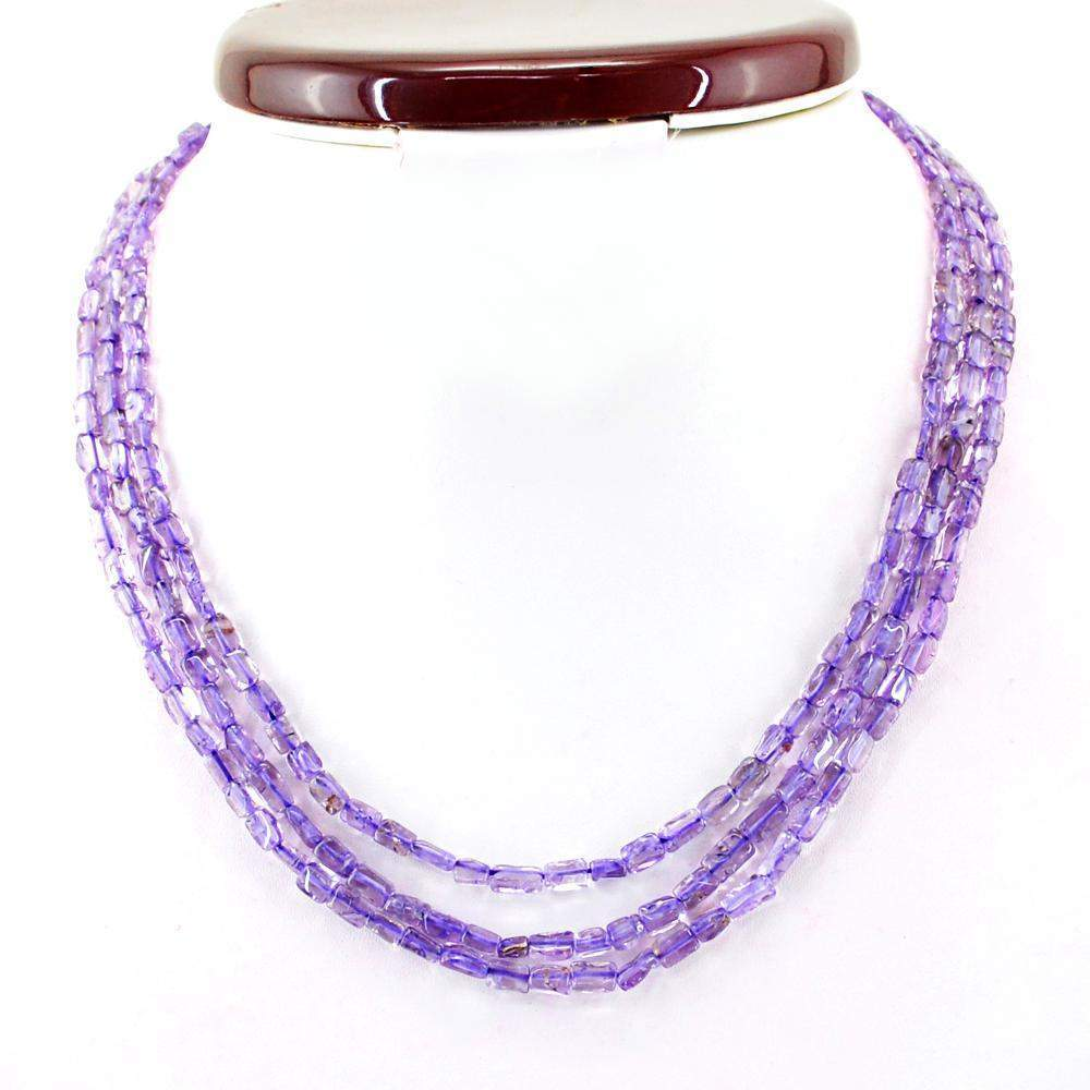 gemsmore:3 Line Purple Amethyst Necklace Natural Untreated Beads