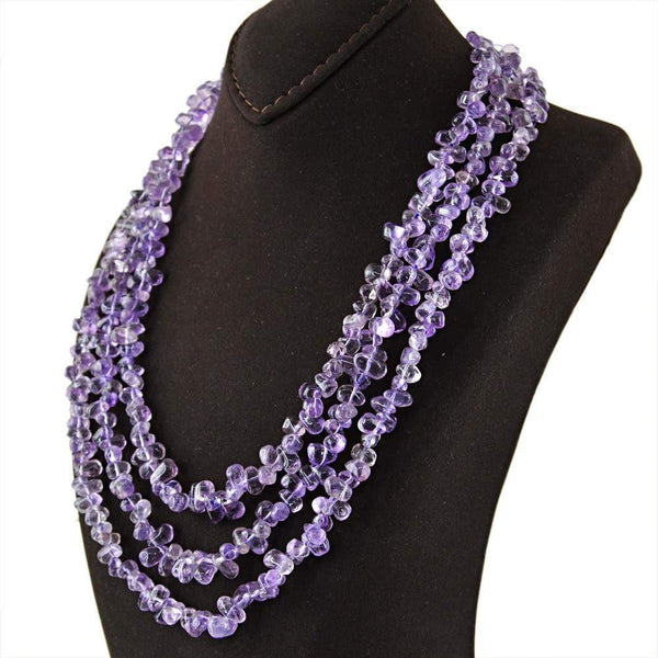 gemsmore:3 Line Purple Amethyst Necklace Natural Untreated Tear Drop Beads