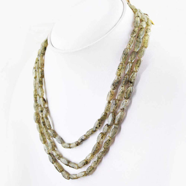 gemsmore:3 Line Rutile Quartz Necklace Natural Faceted Untreated Beads