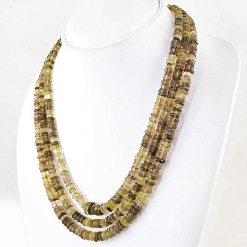 gemsmore:3 Line Rutile Quartz Necklace Natural Round Shape Faceted Beads