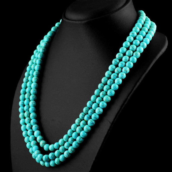 gemsmore:3 Line Turquoise Necklace Natural 20 Inches Long Round Beads