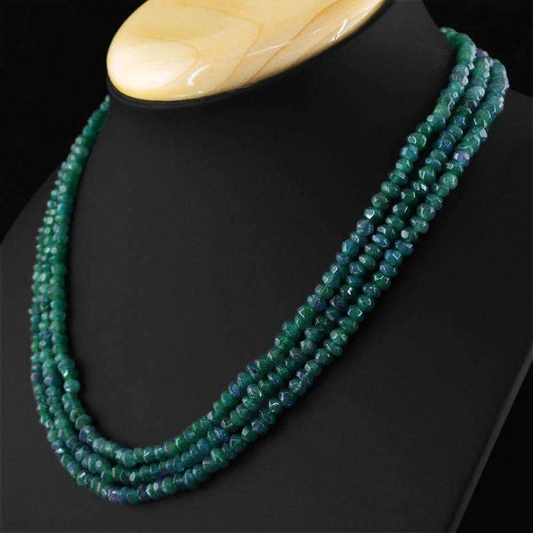 gemsmore:3 Line Untreated Green Emerald Necklace Natural Faceted Beads