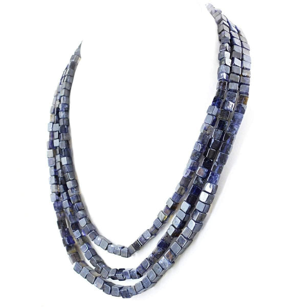 gemsmore:3 Lines Blue Tanzanite Necklace Natural Unheated Beads