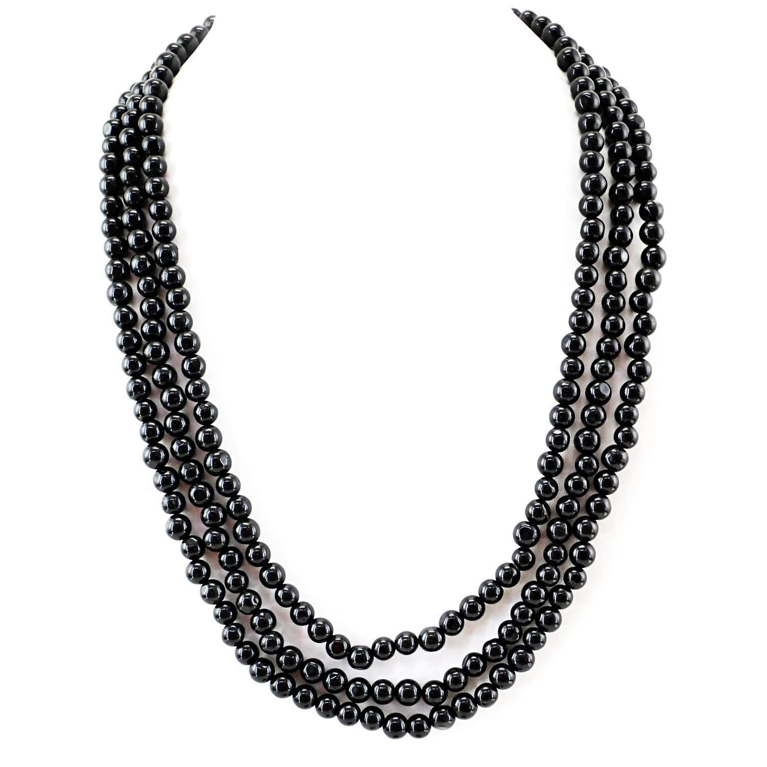 gemsmore:3 Strand Black Spinel Necklace Natural Round Shape Beads