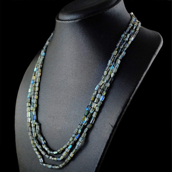 gemsmore:3 Strand Blue Flash Labradorite Necklace Natural Untreated Beads