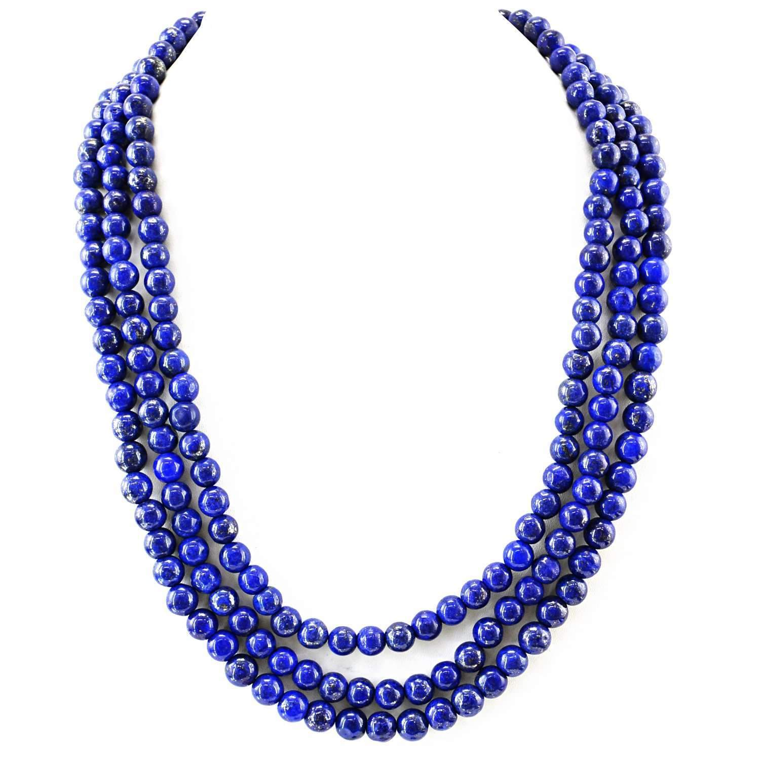 gemsmore:3 Strand Blue Lapis Lazuli Necklace Natural Round Shape Beads