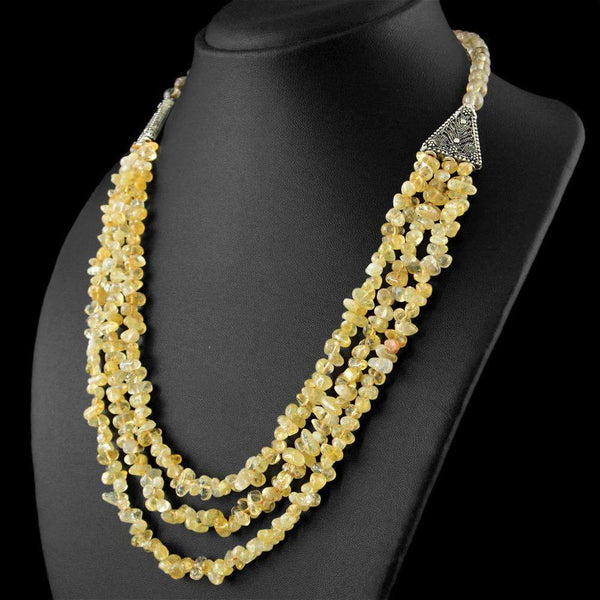 gemsmore:3 Strand Golden Rutile Quartz & Yellow Citrine Necklace - Natural Unheated Beads