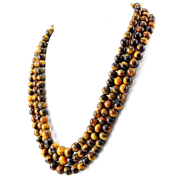 gemsmore:3 Strand Golden Tiger Eye Necklace Natural Untreated Round Shape Beads