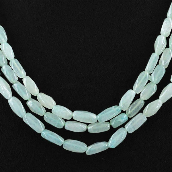 gemsmore:3 Strand Green Aquamarine Necklace Natural Faceted Beads