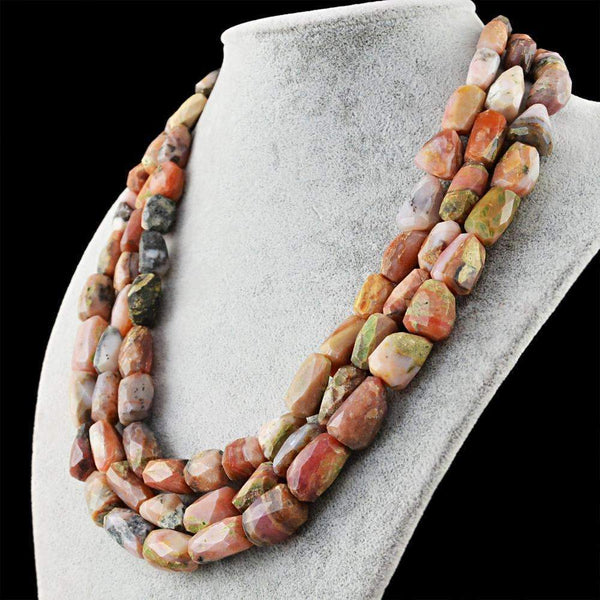 gemsmore:3 Strand Pink Australian Opal Necklace Natural Faceted Beads