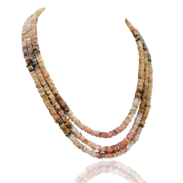 gemsmore:3 Strand Pink Australian Opal Necklace Natural Untreated Beads
