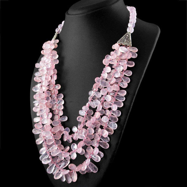 gemsmore:3 Strand Pink Rose Quartz Necklace Natural Pear Shape Beads