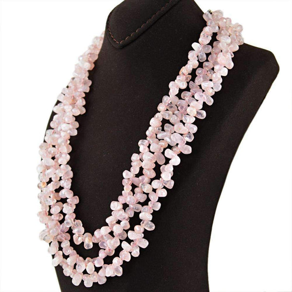 gemsmore:3 Strand Pink Rose Quartz Necklace Natural Untreated Tear Drop Beads