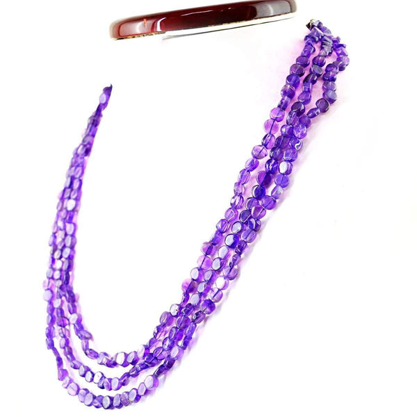 gemsmore:3 Strand Purple Amethyst Necklace Natural Round Shape Untreated Beads