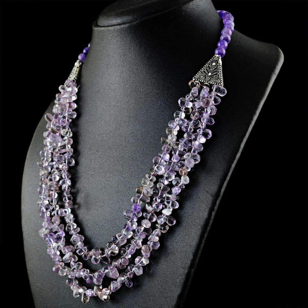 gemsmore:3 Strand Purple Amethyst Necklace Natural Untreated Beads