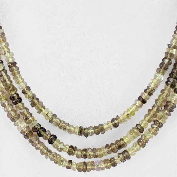gemsmore:3 Strand Rutile Quartz Necklace Natural Round Cut Beads