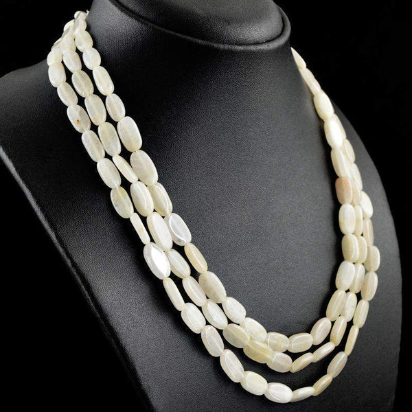 gemsmore:3 Strand White Agate Necklace Natural Oval Shape Beads