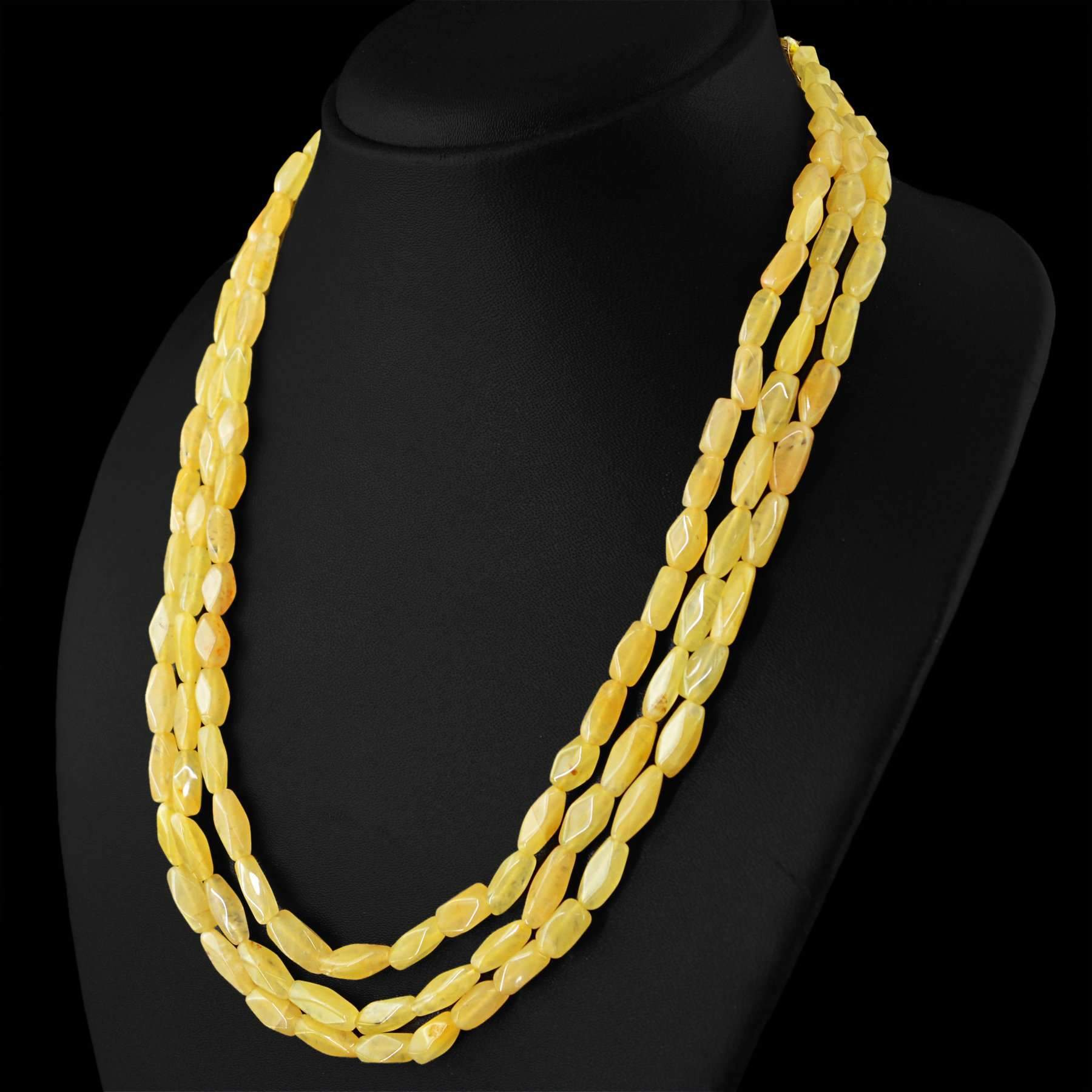 gemsmore:3 Strand Yellow Aventurine Necklace Natural Untreated Faceted Beads