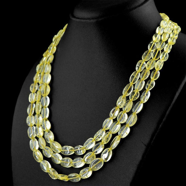 gemsmore:3 Strand Yellow Citrine Necklace Natural Oval Shape Beads
