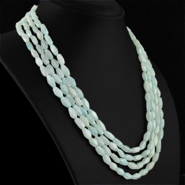 gemsmore:4 Line Green Aquamarine Necklace  Natural Faceted Untreated Beads