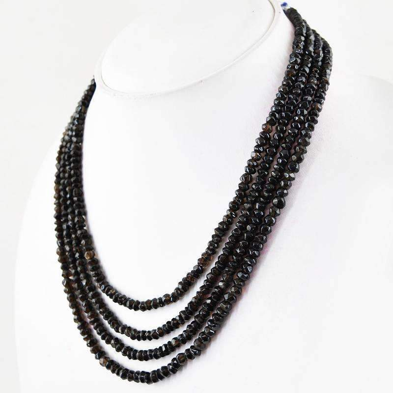 gemsmore:4 Line Smoky Quartz Necklace Natural Untreated Round Cut Beads