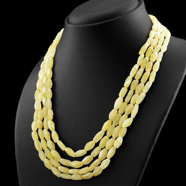 gemsmore:4 Line Yellow Aventurine Necklace Natural Untreated Faceted Beads