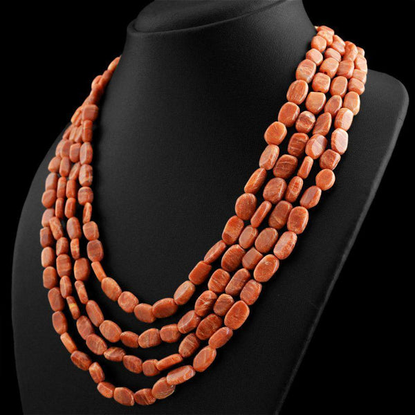 gemsmore:4 Strand Jasper Necklace Natural Oval Shape Beads