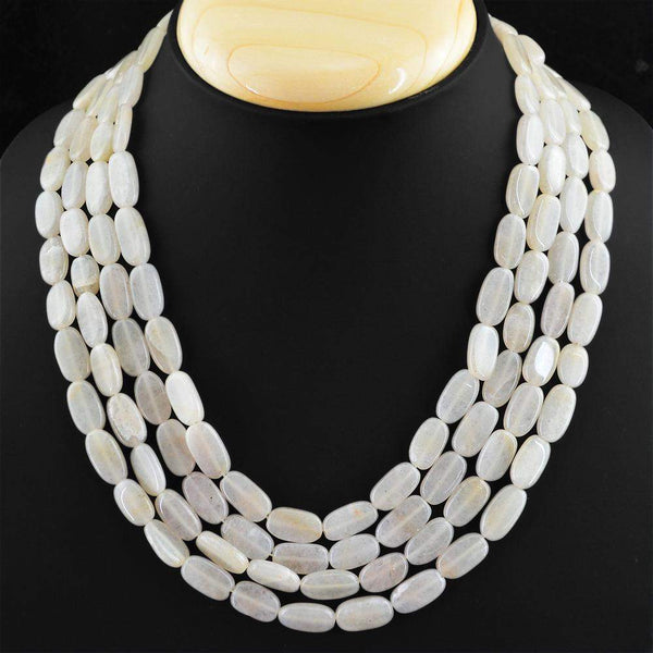 gemsmore:4 Strand Natural White Agate Necklace Oval Beads