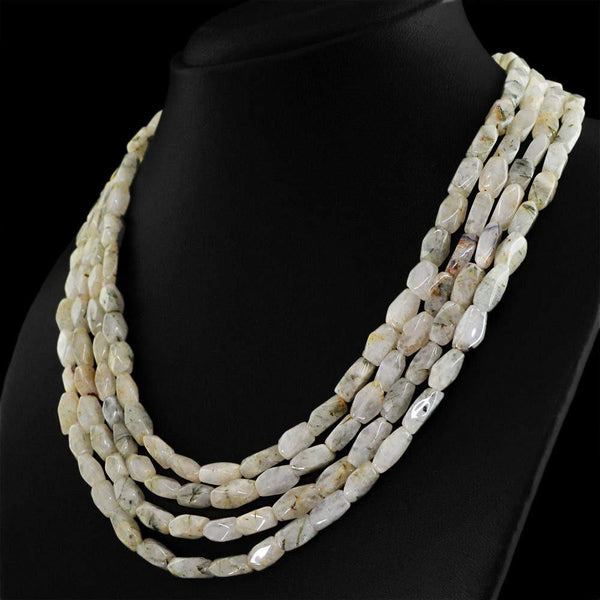 gemsmore:4 Strand Rutile Quartz Necklace Natural Faceted Beads