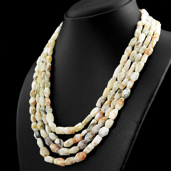gemsmore:4 Strand Rutile Quartz Necklace Natural Untreated Faceted Beads