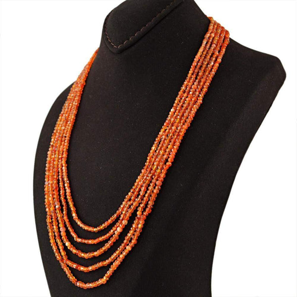 gemsmore:5 Line Orange Carnelian Necklace Natural Round Cut Beads