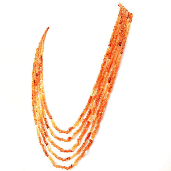 gemsmore:5 Line Orange Carnelian Necklace Natural Round Shape Faceted Beads