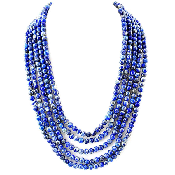 gemsmore:5 Strand Blue Lapis Lazuli Necklace - Natural Round Beads