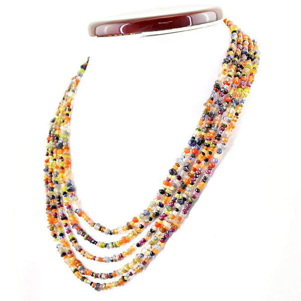 gemsmore:5 Strand Multicolor Multi Gemstone Necklace Natural Round Cut Beads