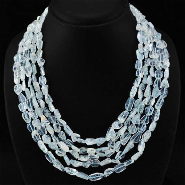 gemsmore:5 Strand White Quartz Necklace Natural Unheated Beads