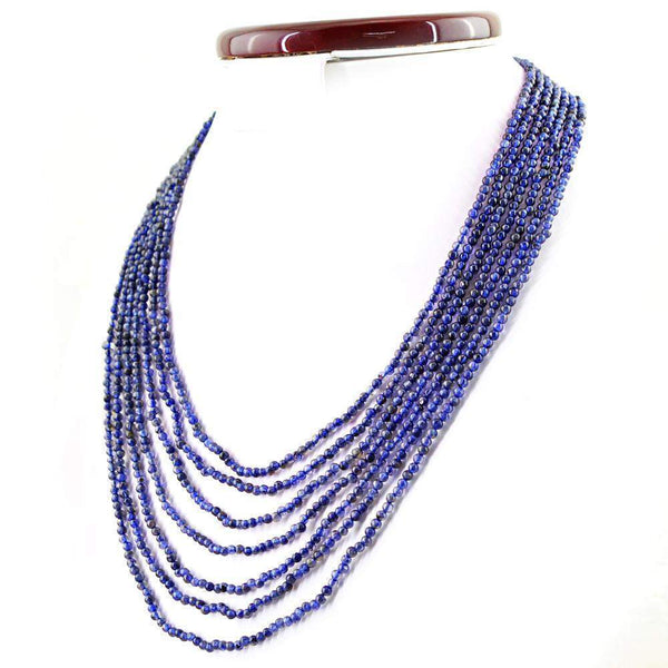 gemsmore:7 Line Blue Tanzanite Necklace Natural Round Shape Untreated Beads