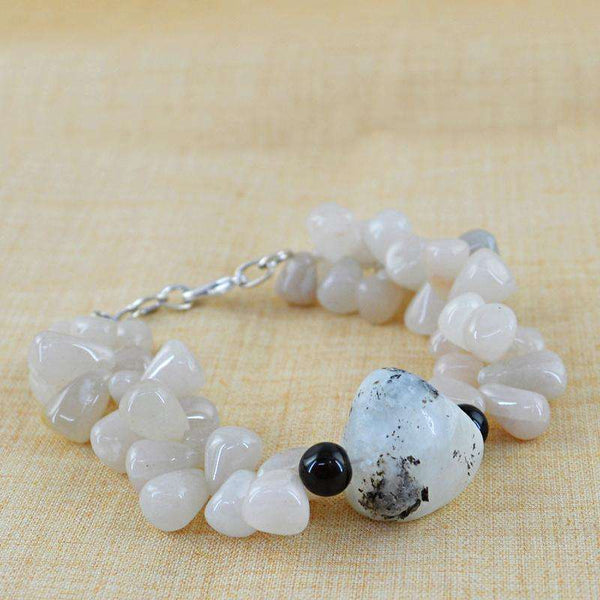 gemsmore:Agate & Moonstone Bracelet Natural Untreated Beads