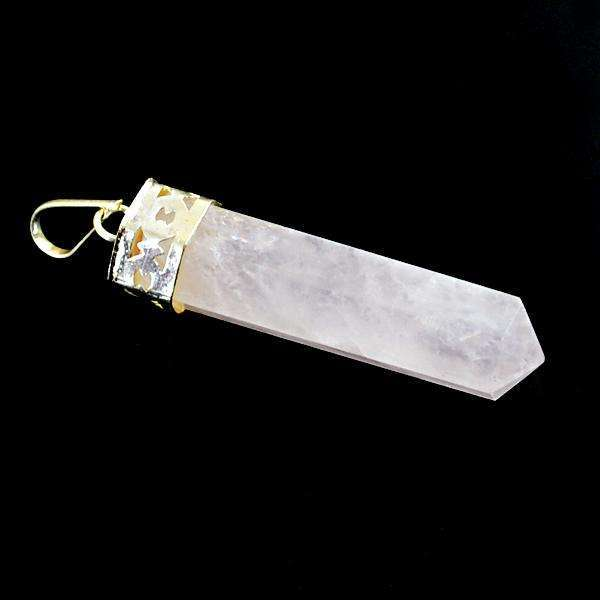 gemsmore:Amaizng Natural Pink Rose Quartz Healing Point Pendant