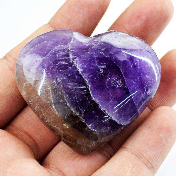 gemsmore:Amazing Amethyst Hand Carved Heart Shape Cabochon