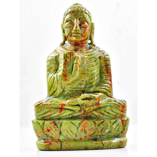 gemsmore:Amazing Blood Green Unakite Lord Buddha Idol Statute