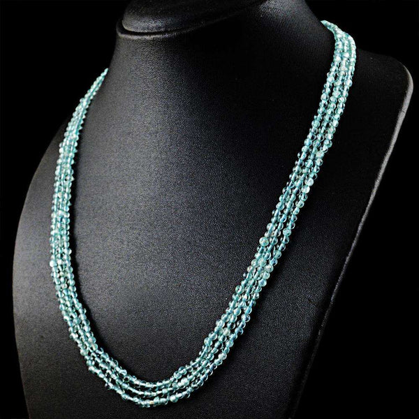gemsmore:Amazing Blue Aquamarine Necklace Natural 3 Strand Round Shape Beads