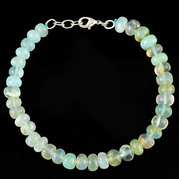 gemsmore:Amazing Blue Chalcedony Beads Bracelet Natural Round Shape