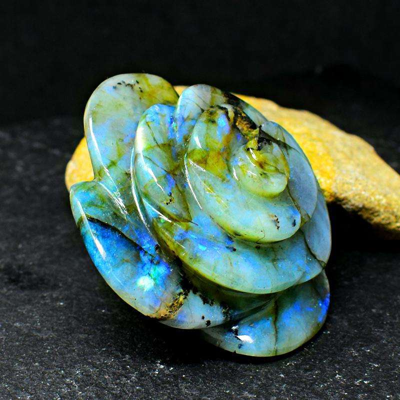 gemsmore:Amazing Blue Flash Labradorite Carved Rose