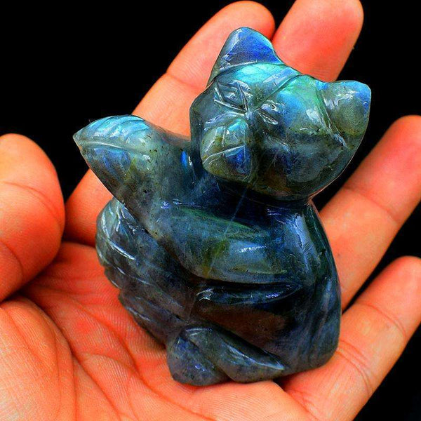 gemsmore:Amazing Blue Flash Labradorite Cat - Hand Carved
