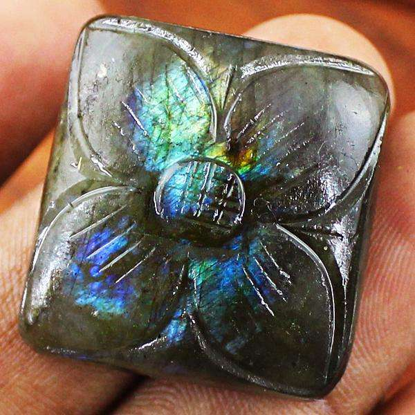 gemsmore:Amazing Blue Flash Labradorite Flower Carved Loose Gemstone