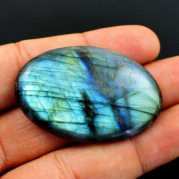 gemsmore:Amazing Blue Flash Labradorite Gemstone Natural Oval Shape